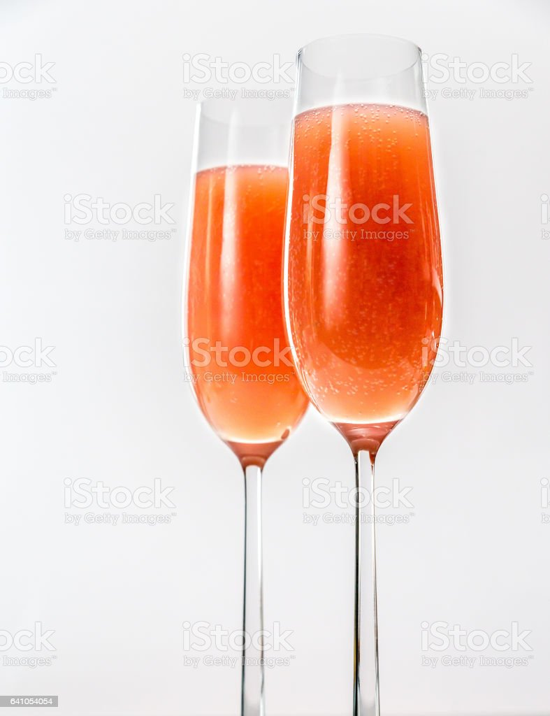Two glasses of bellini cocktail stock photo