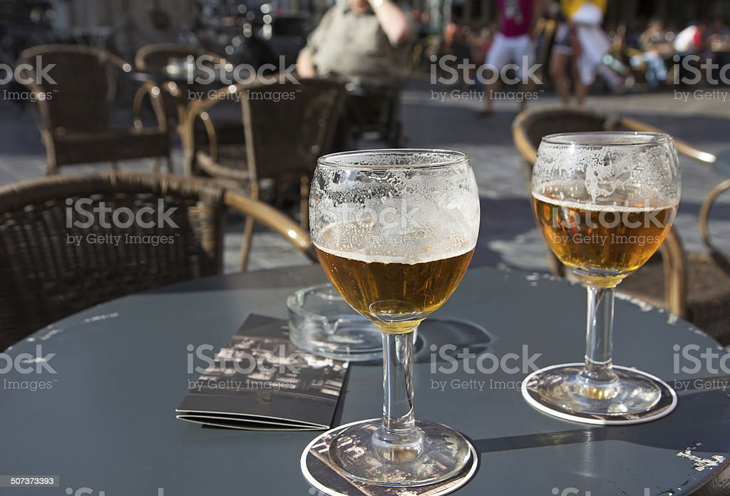 Two glasses of bier stock photo