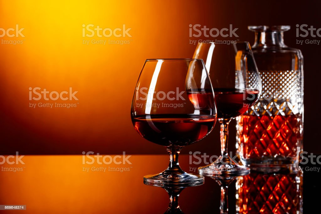 Two glasses of brandy . stock photo