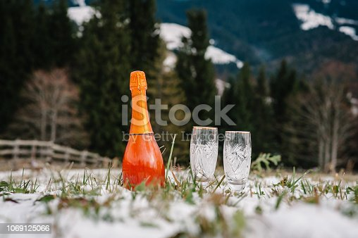 istock Two glasses of champagne and bottle of sparkling wine in snow on mountain background. New Year concept winter. Holidays winter season. 1069125066