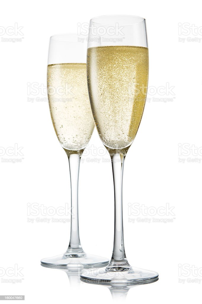 Two glasses of champagne. Isolated on white backgroun stock photo