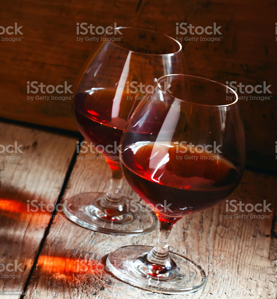 Two glasses of cognac stock photo