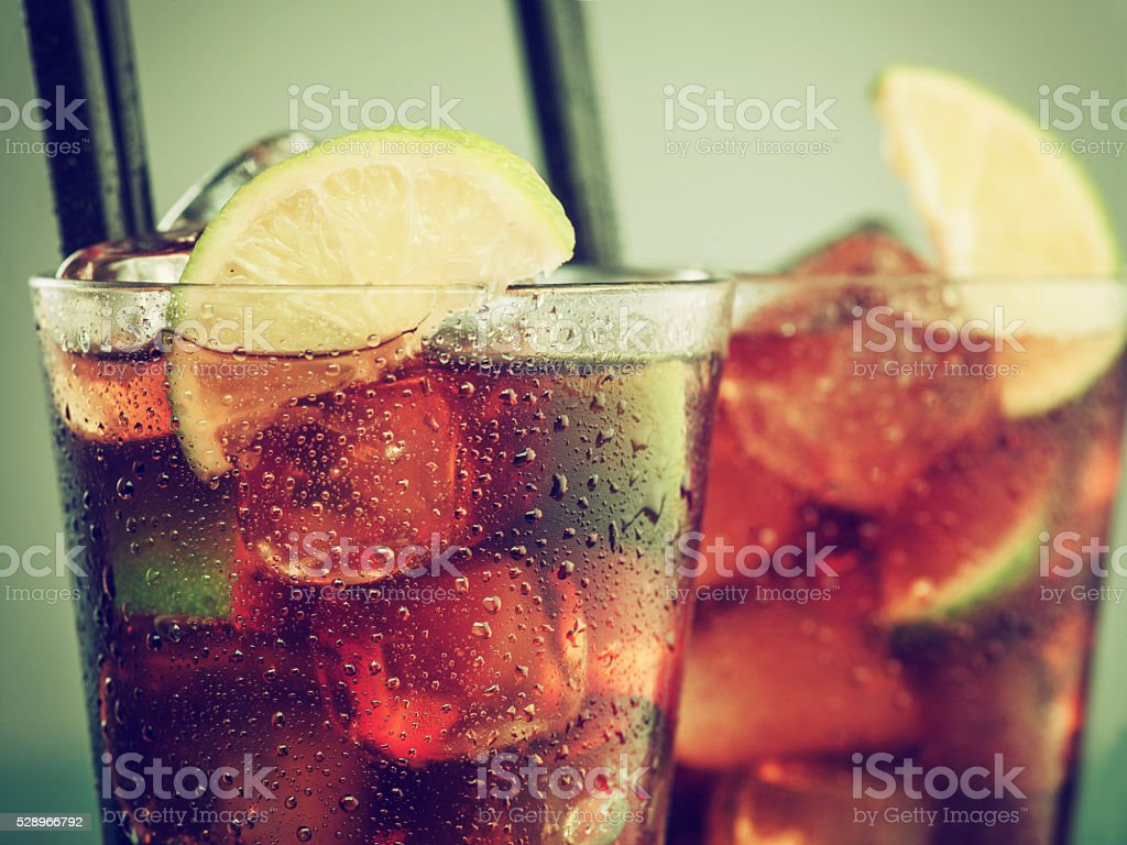 Two glasses of cold rum cola stock photo