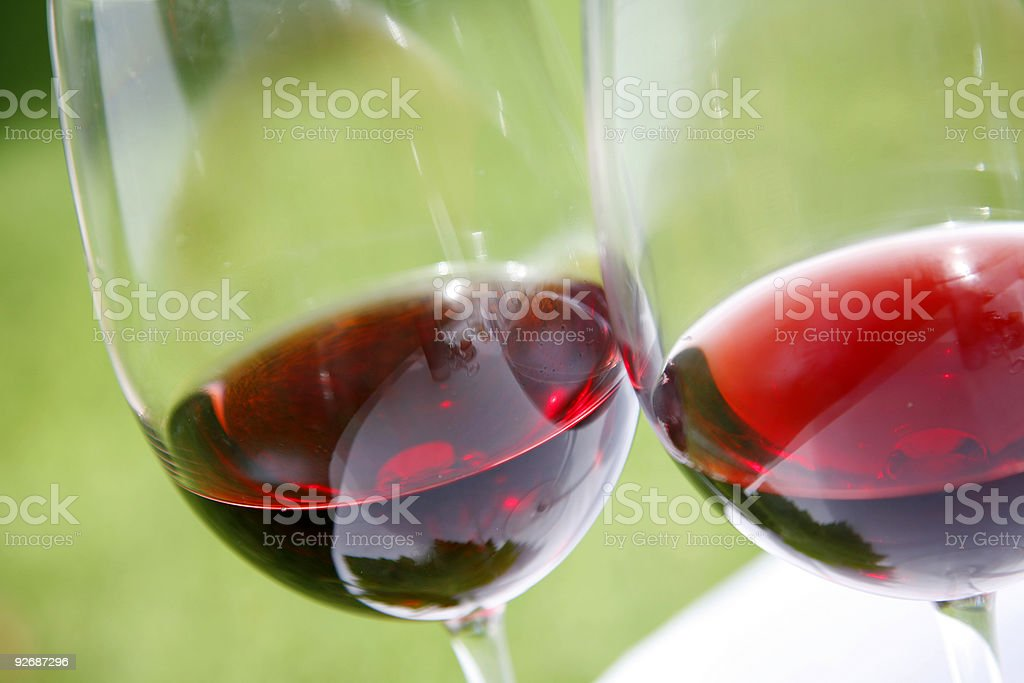 Two glasses of delicious red wine royalty-free stock photo