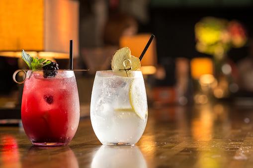 Two glasses of frozen lemonade