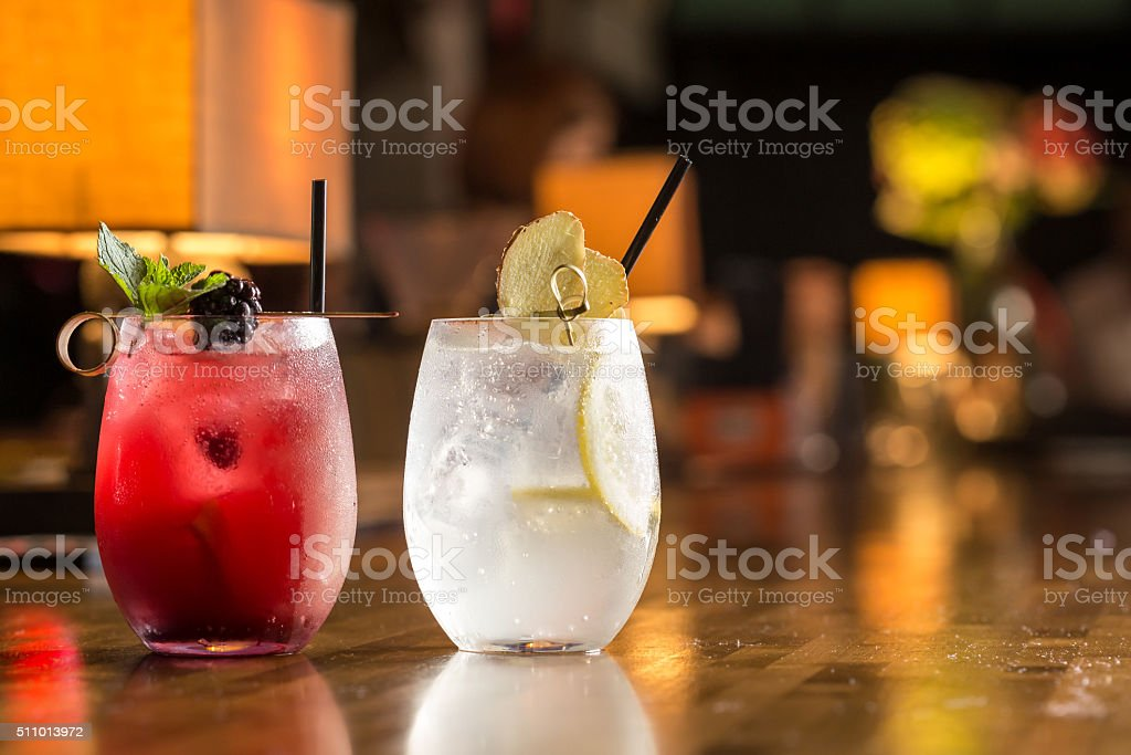 Two glasses of frozen lemonade stock photo