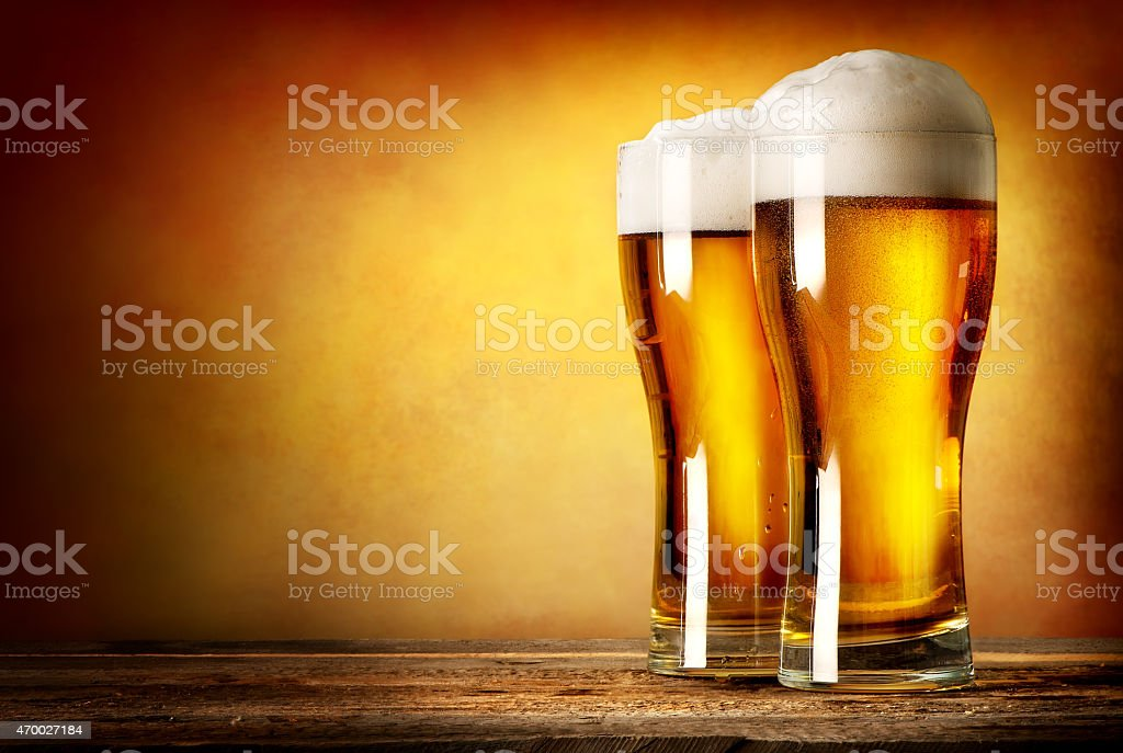 Two glasses of lager stock photo