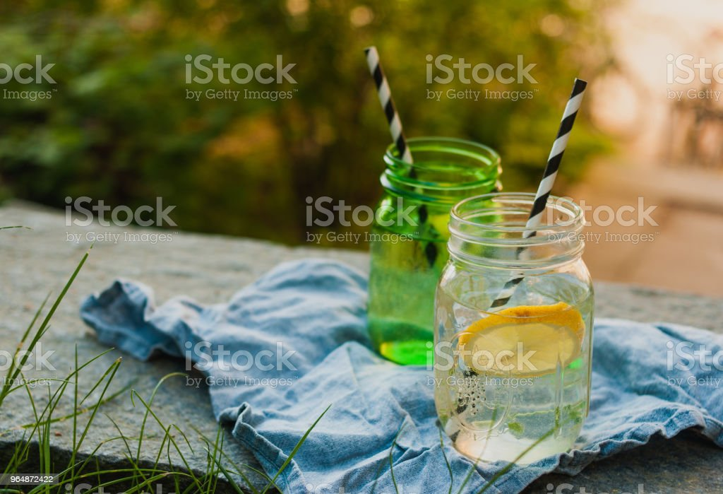 Two glasses of lemonade in the sun royalty-free stock photo