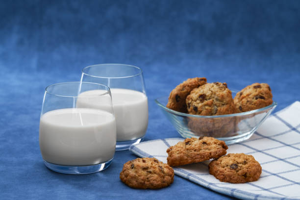 Two glasses of milk and homemade cookies stock photo