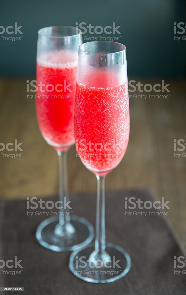 Two glasses of Mimosa cocktail stock photo