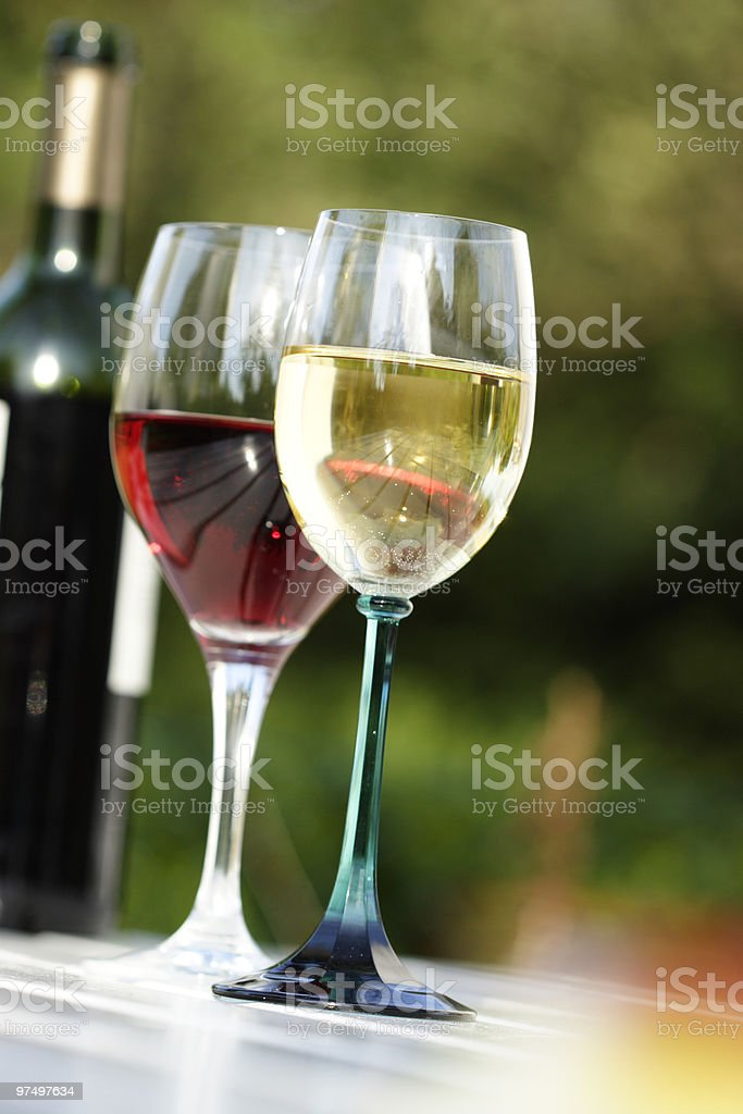 Two glasses of red and white wine in front of a bottle royalty-free stock photo