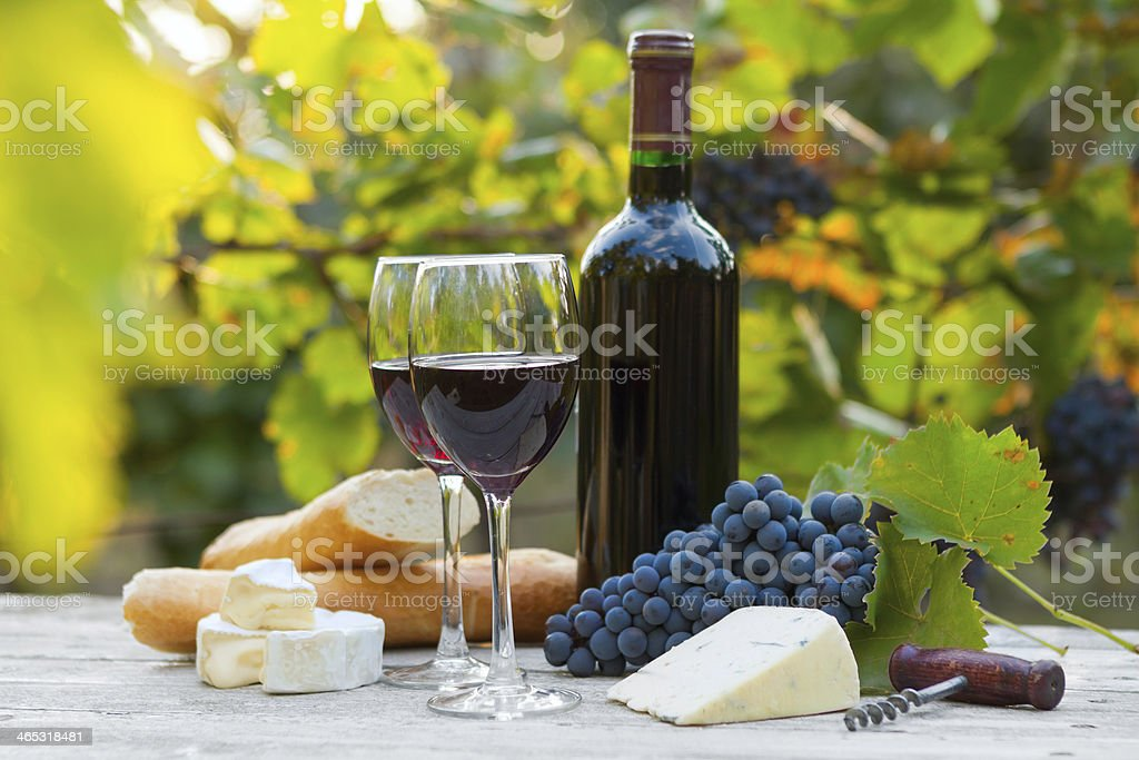 Two glasses of red wine and bottle stock photo