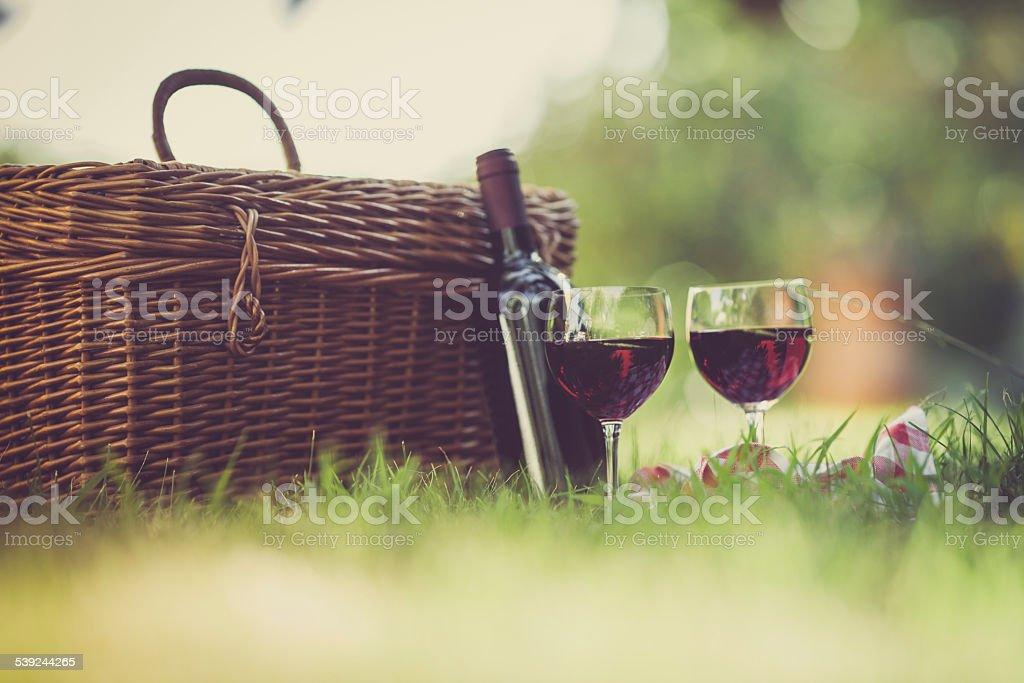 Dos vasos de vino tinto en el Picnic foto de stock libre de derechos