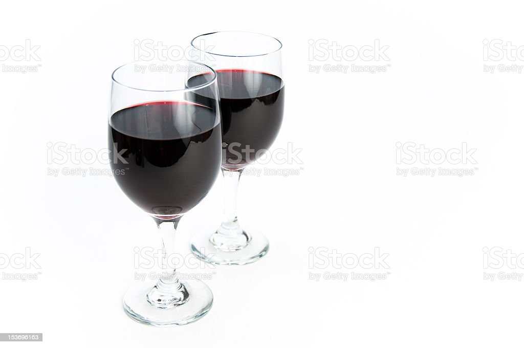 Two glasses of red wine on isolating background stock photo