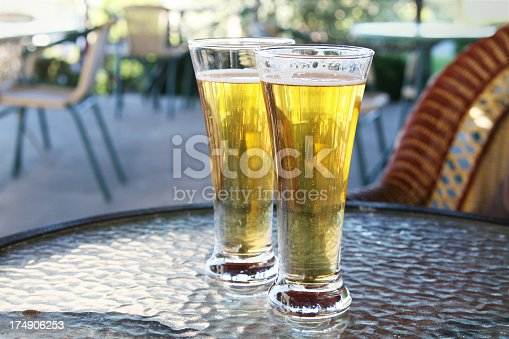 istock Two glasses of refreshing beer 174906253