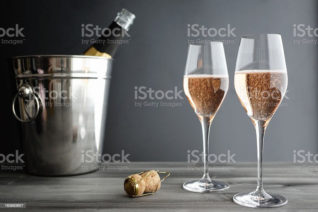 Two Glasses of Rose / Pink Champagne stock photo