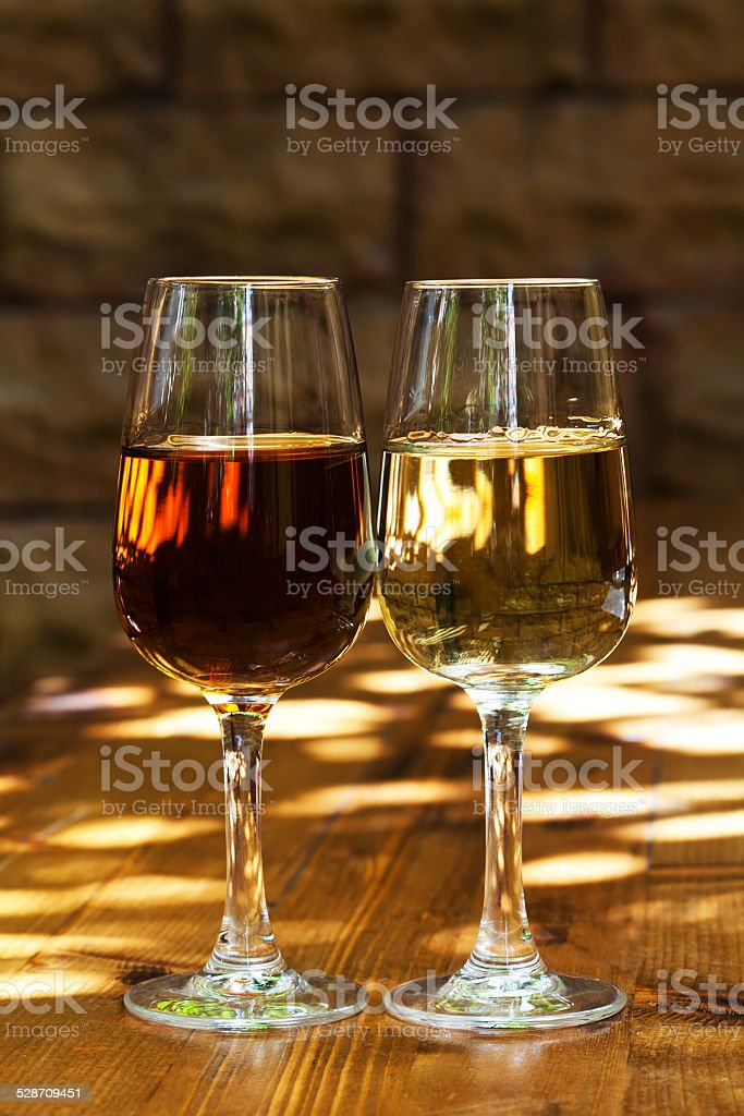 Two glasses of sherry stock photo