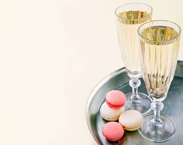 Two glasses of sparkling wine stock photo