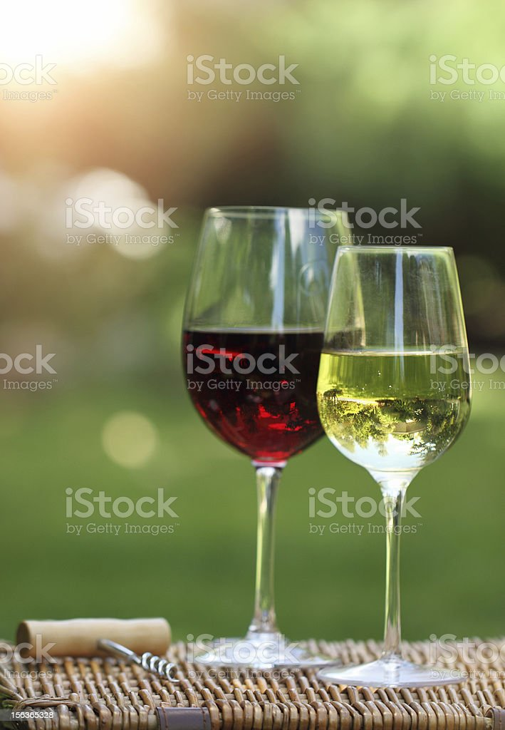 Two glasses of the white and red  wine royalty-free stock photo