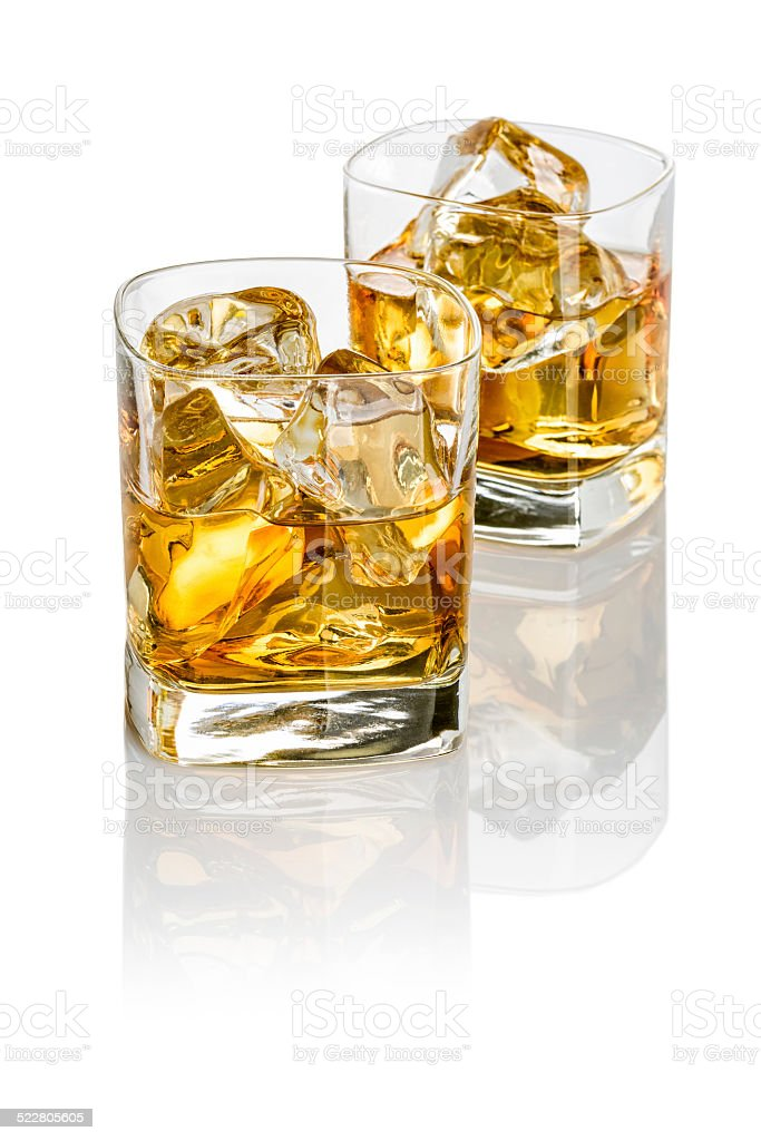 Two glasses of whisky stock photo