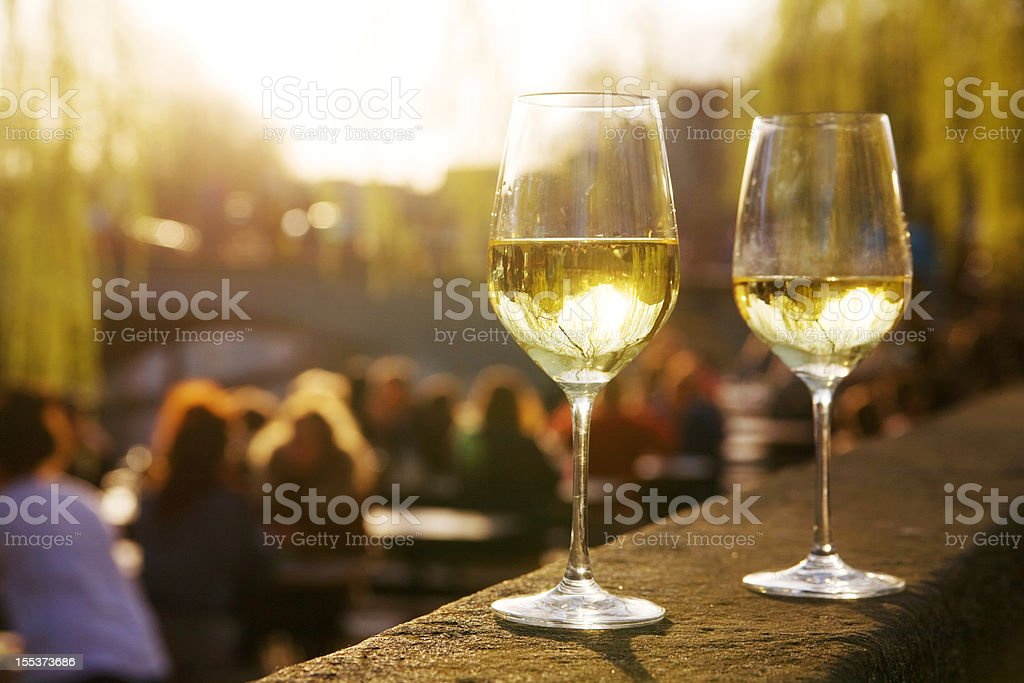 Two glasses of wine in an outside cafe royalty-free stock photo