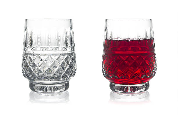 Two glasses of wine on a white background. Isolated. stock photo