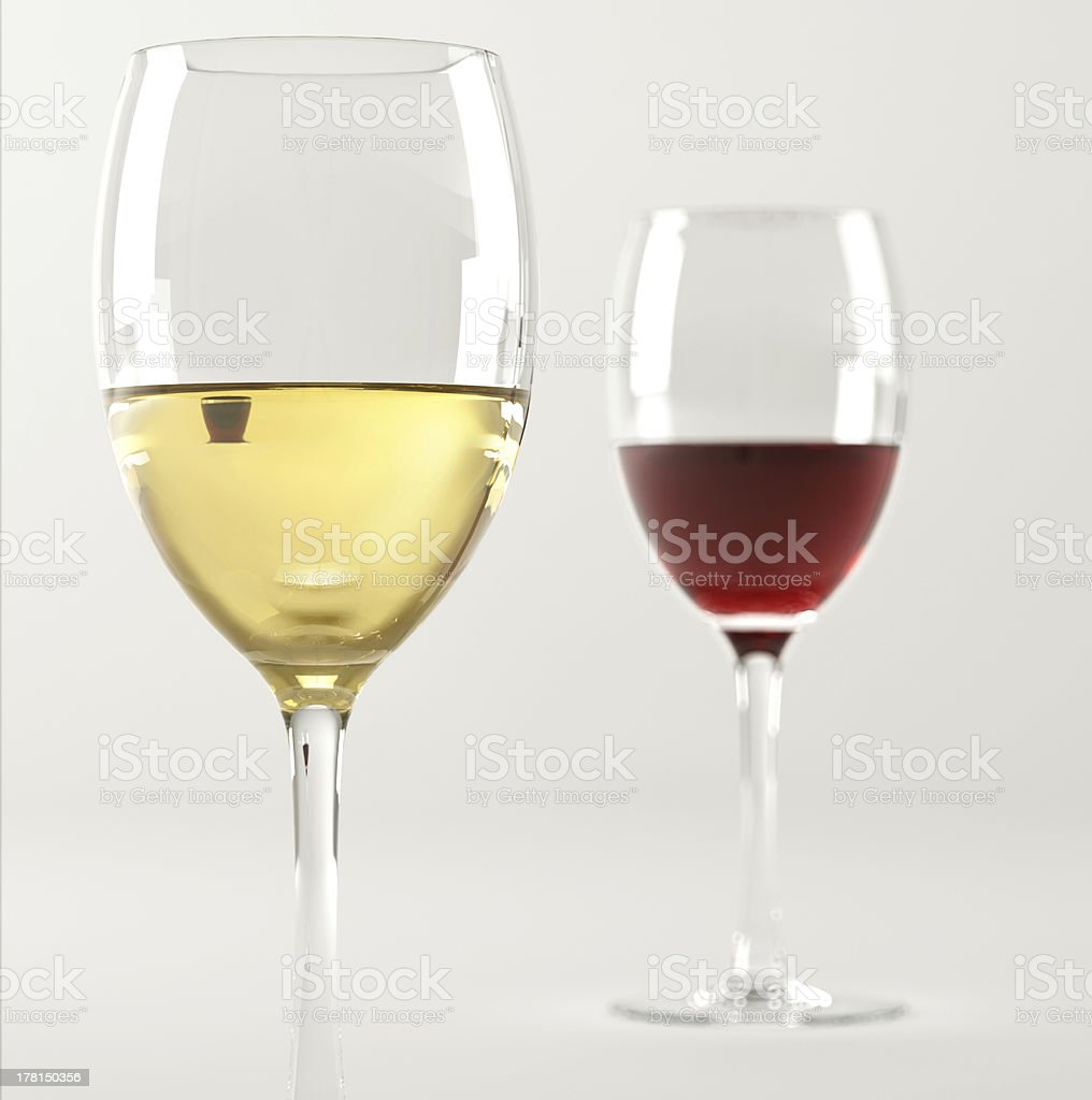 Two glasses of wine, one white and the other red. royalty-free stock photo