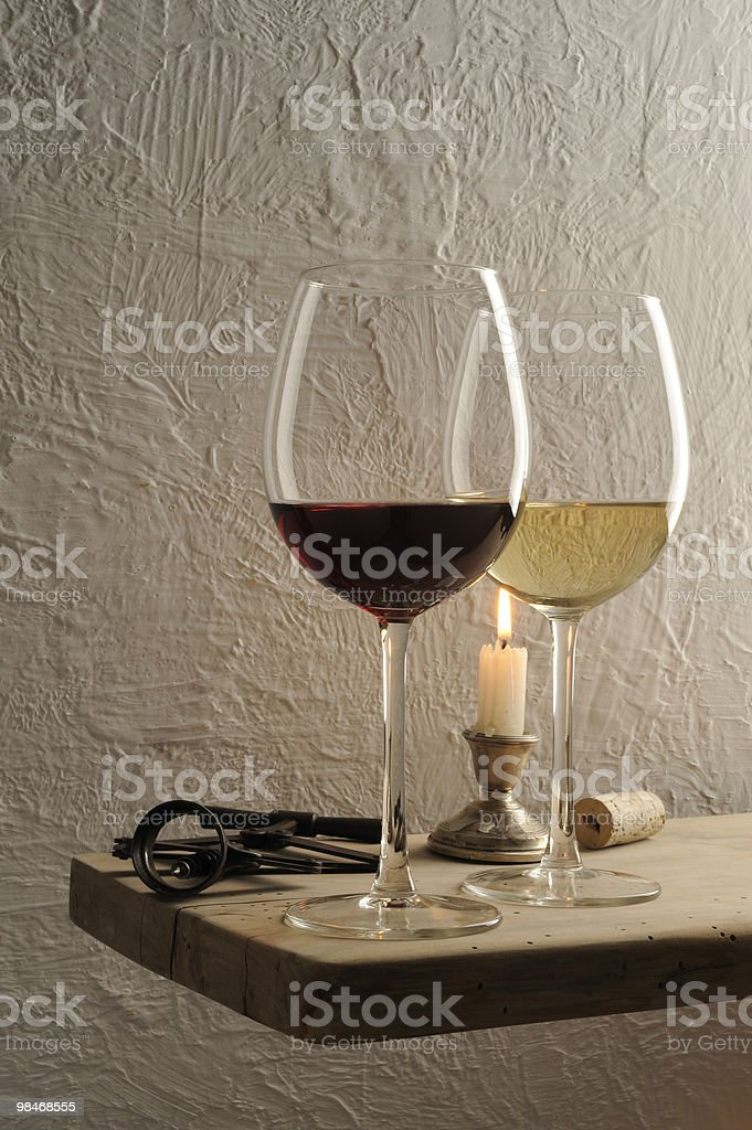 Two glasses of wine ,red and white. royalty-free stock photo