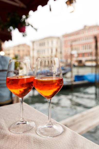 Two glasses with Spritz in Venice, Italy stock photo