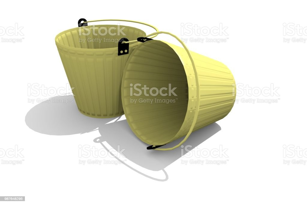 Two gold buckets on a white background. стоковое фото