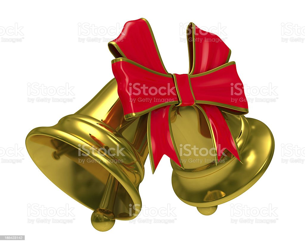 Two gold hand bell on white background. Isolated 3D image royalty-free stock photo