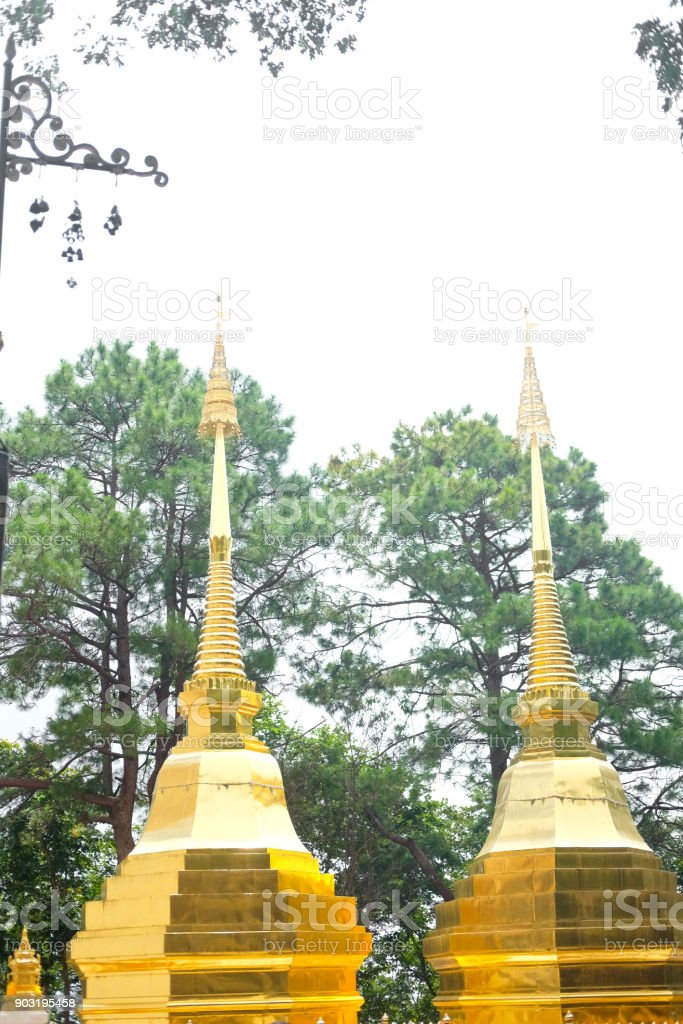Two golden pagoda or stupa (Wat Phra That Doi Tung) Mae Sai, Chiang Rai, Thailand, They are public domain or treasure of Buddhism stock photo