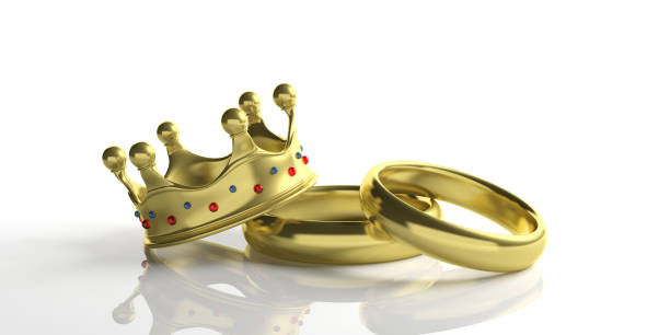 two golden wedding rings and a royal crown isolated on white background, 3d illustration - matrimonio reale foto e immagini stock