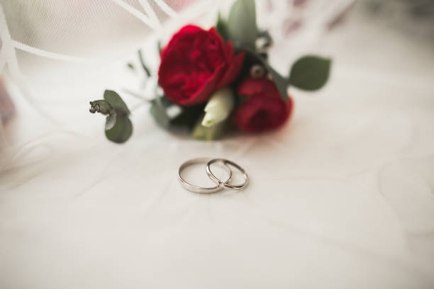Two golden wedding rings isolated background concept stock photo