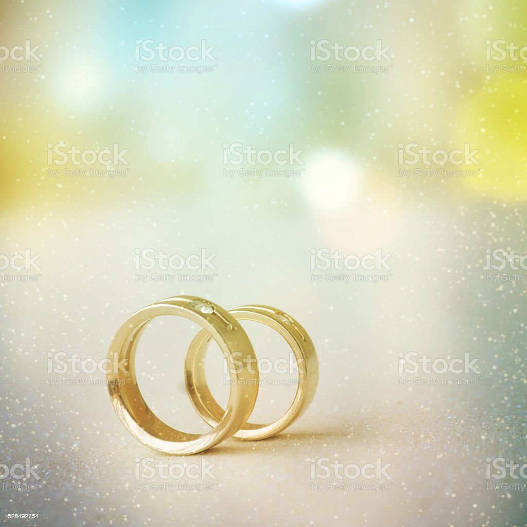 Two golden wedding rings stock photo