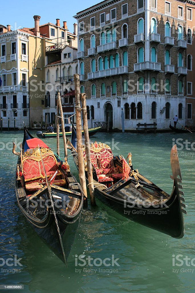 Two Gondolas in Venice on Grand Canal royalty-free stock photo