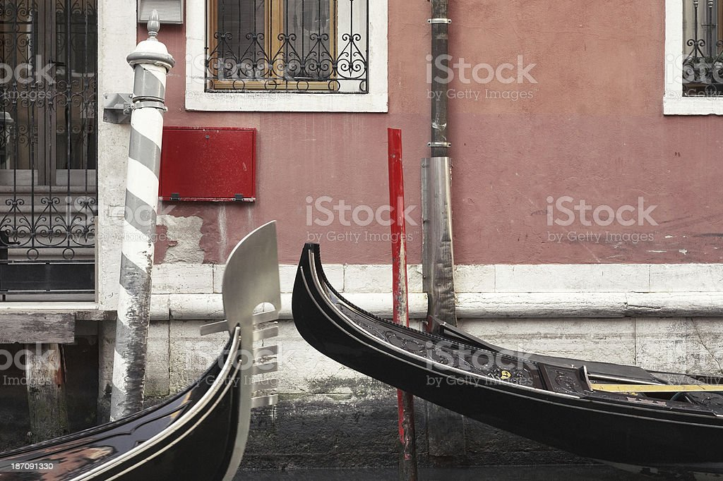 Two gondolas navigate in Venice royalty-free stock photo