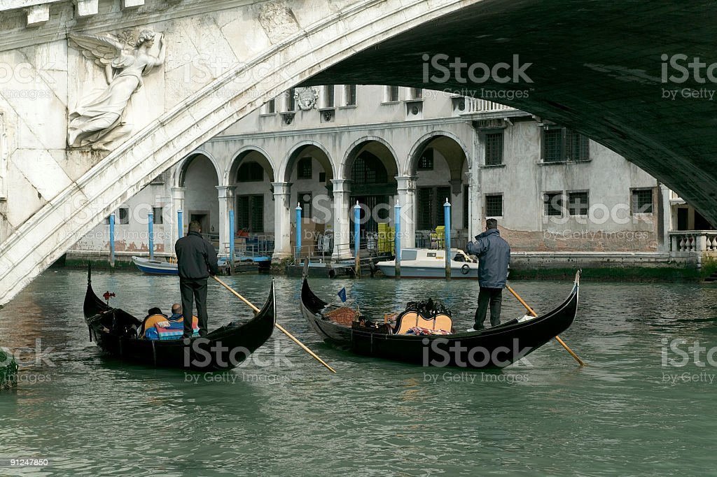 Two Gondolas under Rialto bridge in Venice Italy (XXL) royalty-free stock photo