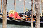 Two gondolas Venice Italia