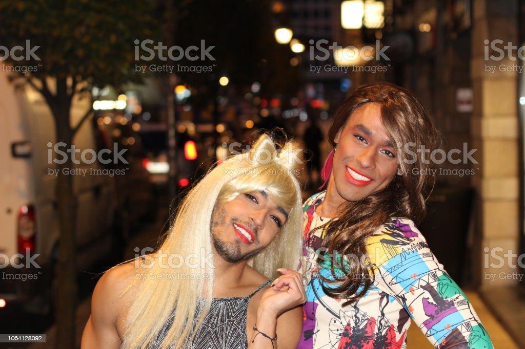 Two gorgeous transgender women at night stock photo