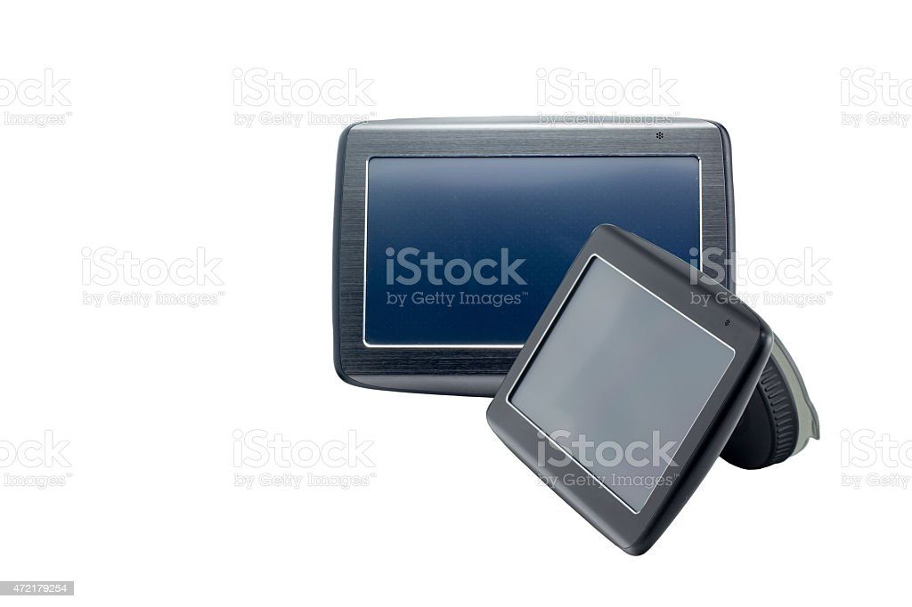 Two Gps navigations on white isolated background stock photo