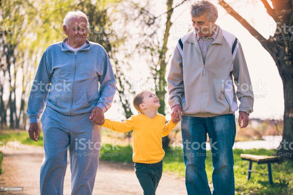 Dois avô andando com o neto no parque - Foto de stock de 4-5 Anos royalty-free