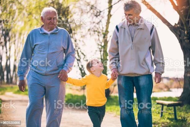 Foto de Dois Avô Andando Com O Neto No Parque e mais fotos de stock de 4-5 Anos