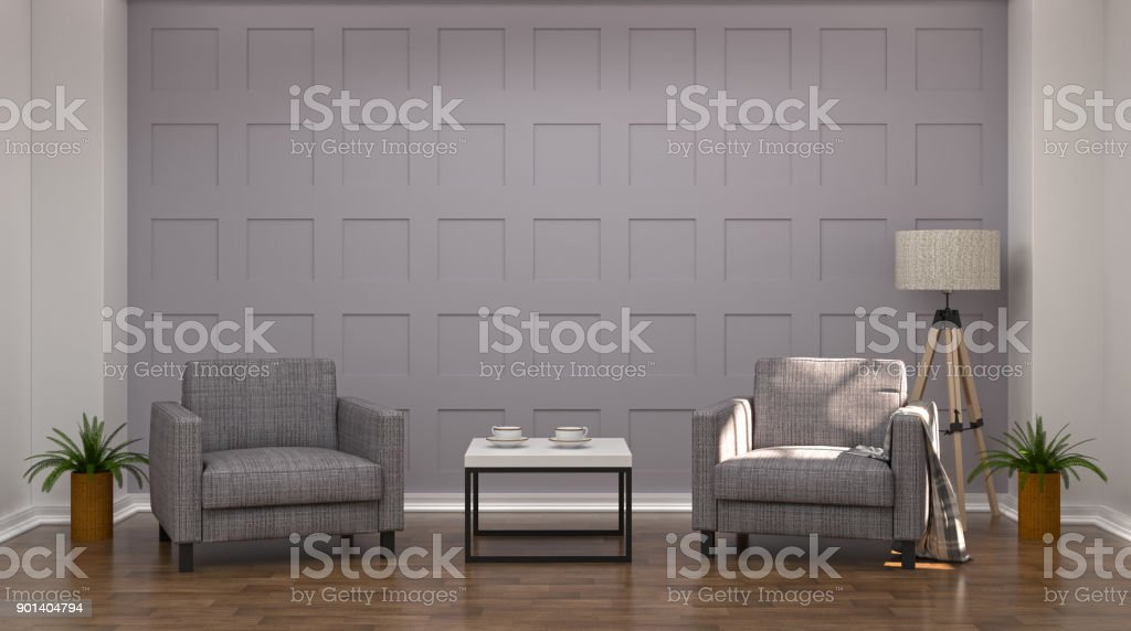 Two gray armchairs in the living room on wooden floor 3d rendering modern mid century room interior white lamp and sideboard in vintage empty home stock photo