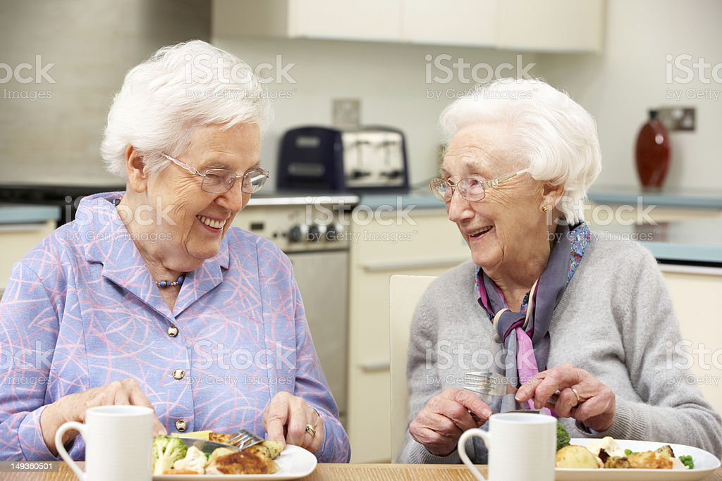 Two gray haired friends enjoying a meal together stock photo