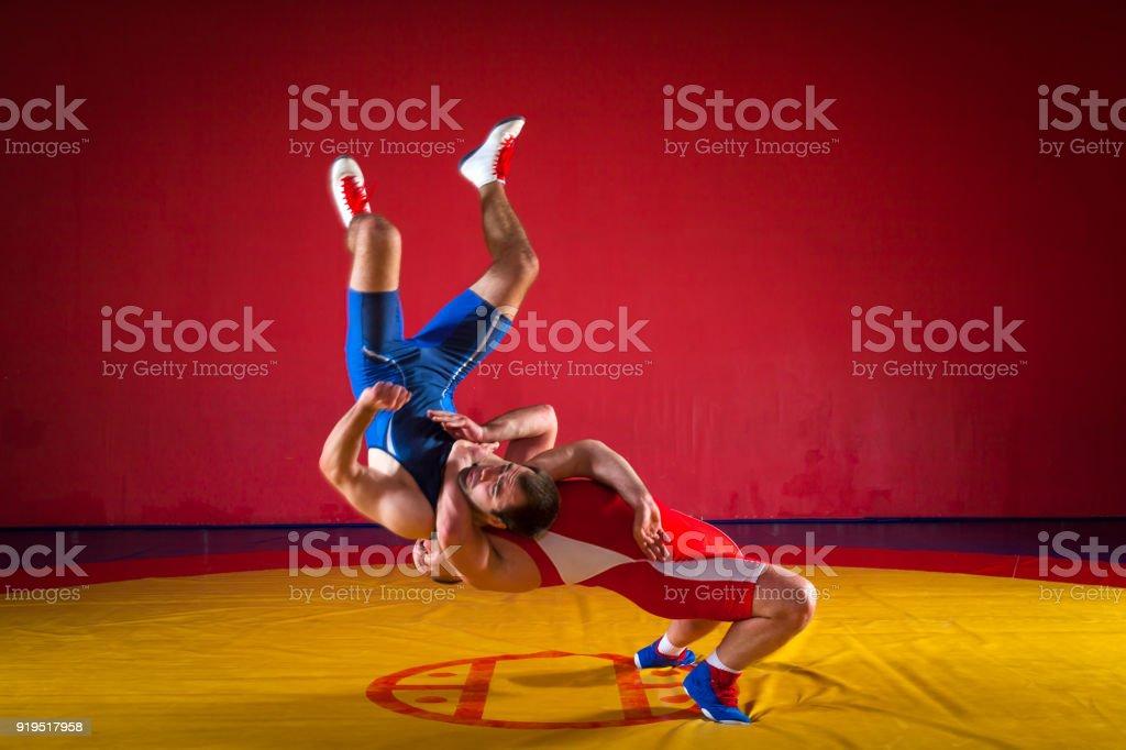 Two greco-roman  wrestlers stock photo