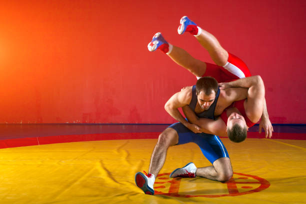 two greco-roman  wrestlers - wrestling stock photos and pictures