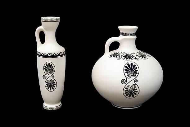 Two greek vases stock photo
