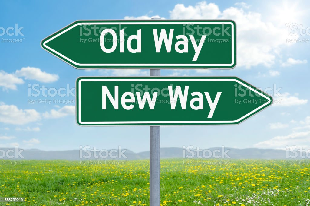 Two green direction signs - Old Way or New Way stock photo