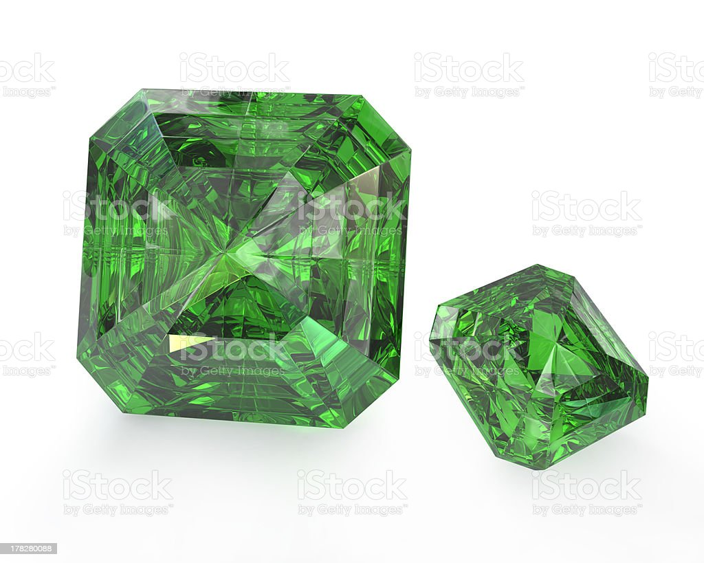 Two green emeralds stock photo